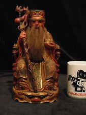 Taoist Deity Fu De Zheng Shen Tiger throne Hard Carved Solid Wood Gold Gilt 1910