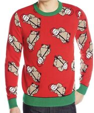Alex Stevens Men's Santa  Ugly Christmas Sweater Men's Sloth Bonanza Red Small