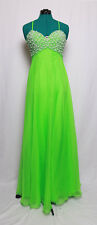 CUSTOM LIME GREEN FAUX PEARL ENCRUSTED CHIFFON PROM FORMAL GOWN DRESS 8