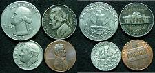 (3G) U.S.A. LOTTO QUARTER DOLLAR 1983 10 CENT 1964 ONE DIME 1982 ONE CENT 1988
