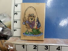 Fishing Bear Rubber Stamp 8a