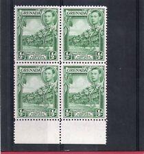 Grenada GV1 1938 1/2d yellow-green block sg 153 LH.Mint/NHM