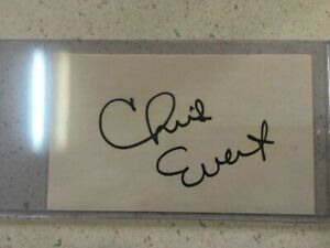 CHRIS EVERT AUTOGRAPH ON A 3X5 INDEX CARD FROM THE 1990's IN RIGID PLASTIC CASE