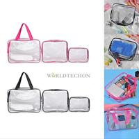 3pcs Clear Cosmetic Toiletry PVC Travel Wash Makeup Bag Holder Pouch Kits Set
