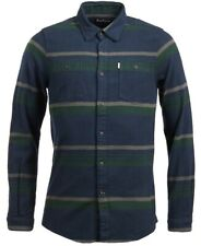 NEW BARBOUR NAVY GREEN ELBE STRIPE THICK FLANNEL TWILL TAILORED FIT SHIRT