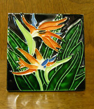JACO Figurines #42611 BIRD OF PARADISE TILE, Blown glass New From Retail Store