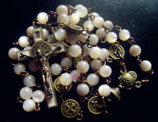 * Vintage Mother of Pearl Beads ROSARY Ancient bronze st.benedict Cross necklace