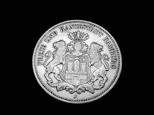 Dt. Reich, Hamburg, 2 Mark, 1904 J, Stadtwappen, J.- 63, Silber, orig., ss!