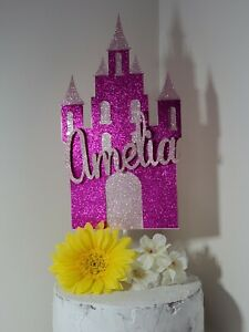 Personalized Pink Glitter Princess Castle Birthday Cake Topper Party Decoration