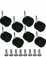 8 X Twin Wheels Castors Feet With Inserts- For Divan Beds Base Sofa Settee Chair