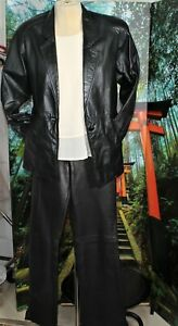 CASUAL CAREER LEATHER PANTS  SUIT BLACK MED/LARGE