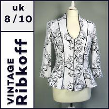 Vintage JOSEPH RIBKOFF Jacket Size 8/10 Peplum Black White Event Occassion F794