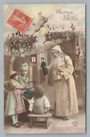 Santa Claus in Wool Robe RPPC Antique French St. Nicholas Handcolored Photo~1910