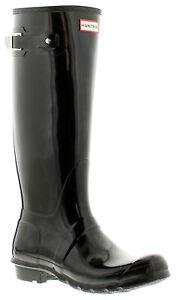Hunter original tall gloss womens ladies wellies wellington black UK Size