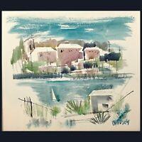 "Vtg ALFRED BIRDSEY Watercolor Art Original Coastal Village Harbor Signed 20.25"""