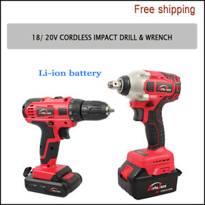 "NEW 3/8"" Cordless drill with Impact wrench HEAVY DUTY LI-ION power tool set 20V"