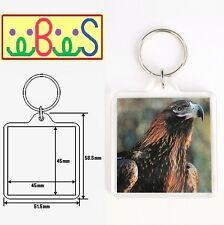 20x Blank SQ Clear Acrylic Keyrings 45x45mm Photo Size Key Ring Plastic 94312