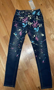 Justice Girl's Size 12 SUPER SKINNY JEANS Paint Splatters
