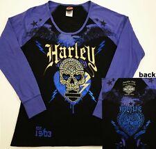 Women's Harley-Davidson Long Sleeve t-shirt Large Powder Keg Studs Foil Skull OH