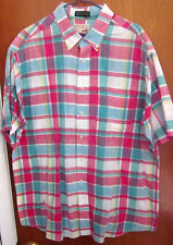 FOX logo plaid button-down shirt XL pastel stripes preppy 1980s Easter picnic OG