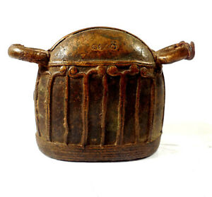 Old Burmese Lost Wax Cast Brass Cow Bell with Burmese Writing.