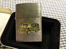 VINTAGE ZIPPO BRUSHED CHROME MOPPETS VOLKSWAGEN VAN LIGHTER 1996
