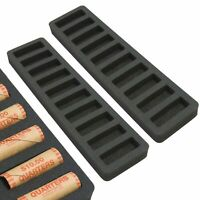 """2 Rolled Coin Storage Organizers Quarters Home Office Black 1"""" Quarter Holder"""