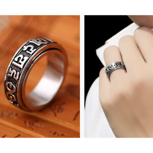 Tibetan Silver Rotating Blessing Ring Can Rotate Power Sanrit Buddhist ManYRDE