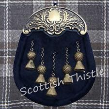 Men's Scottish Full Dress Kilt Sporran Leather Seal Skin Thistle Cantle Antique