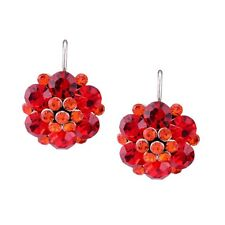 Lovely Vintage Style Sparkling RED Flower White Gold Plated Earrings Jewelry UK