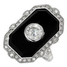 Glamouröser Art Deco Ring Onyx Silber