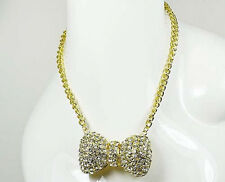 """17"""" Adjustable Gold Toned Chain Clear Rhinestone Puffy Bow Ribbon Necklace"""