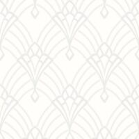 Astoria Art Déco Papier Peint Blanc / Argent - Rasch 305302 Paillette