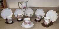 """Vtg Germany Three Crown China 8.5"""" Chocolate Coffee Rose Floral 6 Cups/Saucers"""