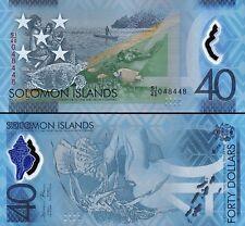 Solomon Islands 40 Dollars, 2018,P-New, UNC, Polymer,Turtle,Canoe,Commemorative