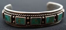 Mid 20th Century Navajo Indian Silver W/Ten Square Turquoise Stones Row Bracelet