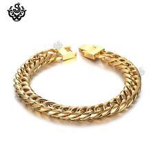 Gold bracelet biker chain chunky heavy stainless steel 225mm long 50g