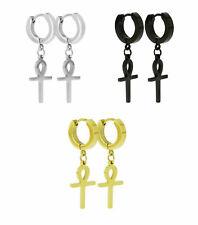 Vintage Stainless Steel Hoop Earrings Ankh Cross Dangle Hinged Men's Womens