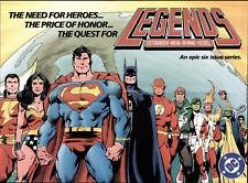 1986 JOHN BYRNE ART DC COMICS LEGENDS ORIGINAL PROMO POSTER BATMAN SUPERMAN JLA