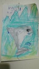 a series of shark pictures by six-year-old Angela