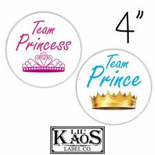 12 Gender Reveal Stickers Labels Shirt Tags Party Baby Team Princess Prince