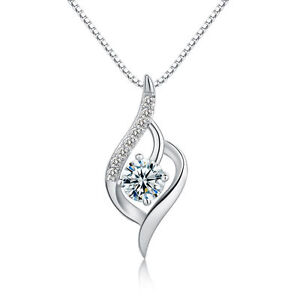 Foxtail Pendant Chain Necklace 925 Sterling Silver Womens Crystal Jewellery Gift