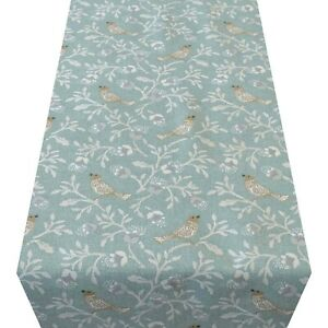 Dainty Songbird Table Runner. Duck Egg Blue Birds and Leaves. Two Sizes.