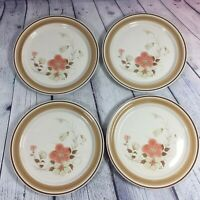 """4 Hearthside Stoneware Dinner Plates Water Colors Blush Floral - 10.5"""" / Japan"""
