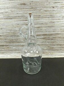 Adorable Decorative Clear Glass Bottle Collectible with Cork Top and Handle NEW