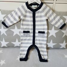 Strampler Strickstrampler Overall Schlafanzug Einteiler Grau Gr 68 Bio-Baumwolle