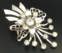 VINTAGE FLOWER SCATTER PIN CLEAR RHINESTONE BROOCH NECKLACE PENDANT JEWELRY