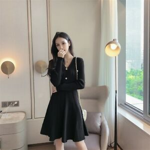 Casual Elegant Womens Midi Sweater Dress Sexy V Neck High Waist Knit Base Dress
