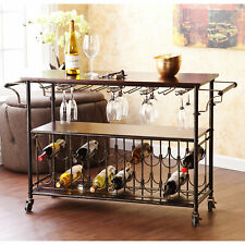 Wine and Glass Rack Rolling Bar Cart and Serving Table