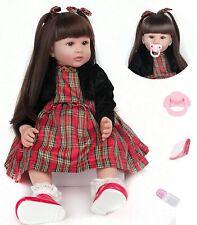 24'' Reborn Baby Puppe Weich Silikon-Vinyl Lange Haar Rebornpuppen Geschenk